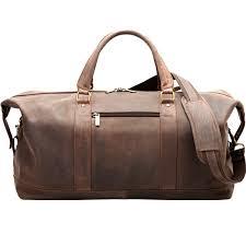 velorbis leather weekend bag dark brown front