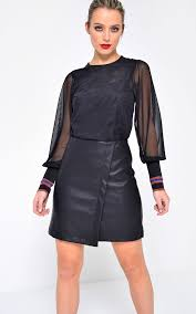 tess faux leather skirt in black by marc angelo