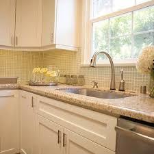 kitchen backsplash glass tile green. Granite Countertops View Full Size. Contemporary Kitchen With White Shaker  Cabinets, Green Glass Mosaic Grid Tile Backsplash I