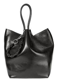alexander roxy large black leather tote