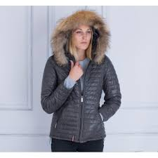 quilted leather coat with fur trim hood in army grey