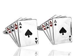 Ammvi Creations <b>Poker</b> Cards Silver Brass Alloy <b>Cufflinks for Men</b>