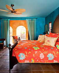 Bedroom: Magnificent Blue And Orange Bedroom Decoration Using Red ...