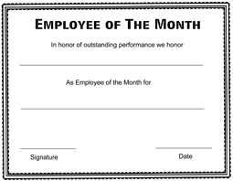 Printable Employee Of The Month Certificates Free Printable Employee Of The Month Certificate Templates