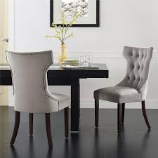 grey linen button tufted dining chair