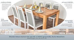Wooden Nature Esstisch Set 349 Inkl 6 Stühle Grau Weiß Buche