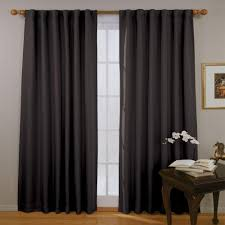 White And Black Curtains For Living Room Eclipse Fresno Blackout Black Polyester Curtain Panel 84 In