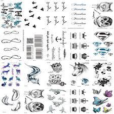 20 шт 1 комплект водонепроницаемые поддельные временные татуировки Harajuku черные
