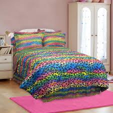 bedding vtx rainbow leopard animal print bedding for kids full queen comforter sets pink blue green