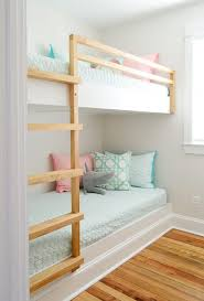 Making bunk beds Amazon Diy Built In Wall To Wall Bunk Beds After Shot Young House Love How To Make Diy Builtin Bunk Beds Young House Love