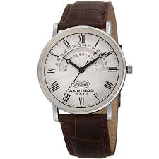 men s watches discounts akribos xxiv men s quartz retrograde date day leather silver tone strap watch outlet