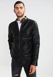 faux leather jacket black mens clothing jackets leather jackets river island black qk35243