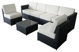 M bo 7 Piece Black Wicker Patio Sectional Outdoor Sofa Furniture