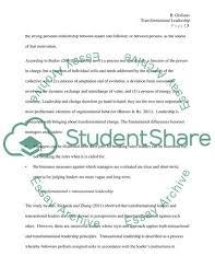 Short Essay On Leadership Literature Review Transformational Leadership Essay