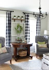 buffalo plaid curtains 2016 spring home tour hymns and verses pretty farmhouse country livingroom with ds and chairs