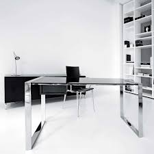 glass office table. Desk For Office Environment Furniture Glass Computer With Metal Frame Table