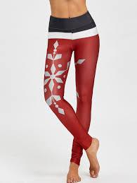 Christmas Snowflake Print Color Block Leggings In Wine Red L