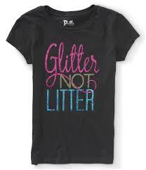 Aeropostale Girls Glitter Not Litter Graphic T Shirt