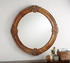 Mendosa Round Wood Mirror Pottery Barn