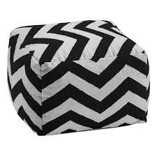 Black And White Pouf Black White Chevron Design Fabric Pouffe