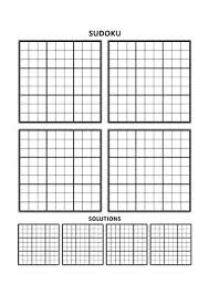 Sudoku Puzzle Blank Template Four Grids With Solution Grids