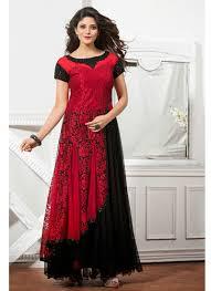 Red Net Dress Design Red Black Brasso Net Partywear Designer Gown Indian Gowns