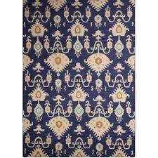 urban navy blue ikat rug – sky iris