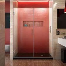 unidoor plus 58 to 58 5 in x 72 in frameless hinged shower door in