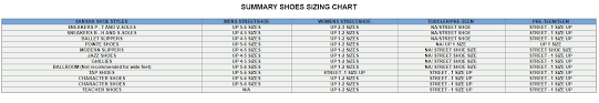 Sansha Dance Shoes Size Chart Sizing Chart Movin Easy Dancewear
