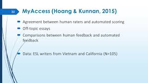automated essay evaluation and feedback systems are they useful 30 myaccess hoang kunnan 2015 61620 agreement between human raters and automated scoring 61620 off topic essays 61620 comparisons between human feedback and