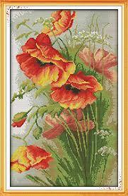 Benway Counted Cross Stitch Beautiful Poppy <b>Flowers</b> 14 Count ...