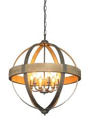 creative co op round metal wood chandelier pendant light 6 lights 26 1 4 d 689994855294