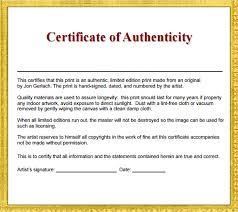 36 Sample Certificate Of Authenticity Templates Sample Templates