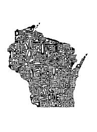 Fine Line Designs Door County Wisconsin Art Print This Piece Features The State Formed
