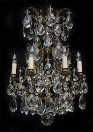 6 light antique italian chandelier with large crystal harlequin drops and decorative central crystal prism