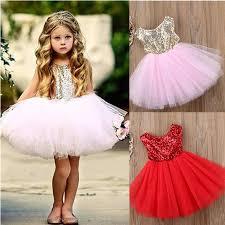 Sequins Kids Baby Flower <b>Girl Summer Dress</b> Fancy Tutu Party ...