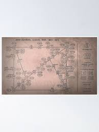1973 Map Of The Internet Poster