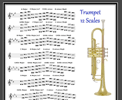 Trumpet Chromatic Scale Chart Trumpet Poster 12 Scales Every Note In Any Key