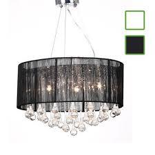 drum shade pendant crystal ceiling light chandelier lighting fixture black white 1 of 6free