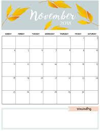 November Through November Calendars Cute November 2018 Calendar Template Calendars Calendar