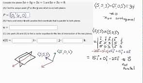 parallel planes equations. line of intersection for two planes parallel equations i