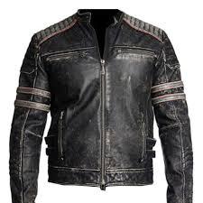 details about men s biker style vintage black distressed stripes moto retro 1 leather jacket
