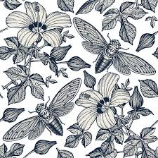 Cicada Hand Drawn Seamless Pattern 178292 Vector Art at Vecteezy