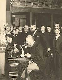 telephone bell placing the first new york to chicago telephone call in 1892