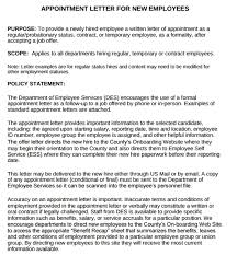 Examples On Job Appointment Letter For New Employees Pdf Examples