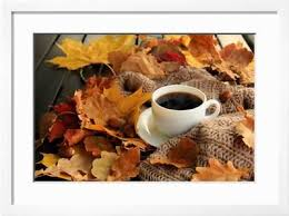 Fall coffee design resources · high quality aesthetic backgrounds and wallpapers, vector illustrations, photos, pngs, mockups, templates and art. Autumn Fall Leaves Hot Steaming Cup Of Coffee And A Warm Scarf On Wooden Table Background Season Photographic Print Sunfe Art Com