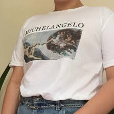 Michelangelo The Creation Of Adam Art Painting T Shirt