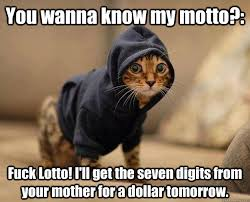 You wanna know my motto?: Fuck Lotto! I'll get the seven digits ... via Relatably.com