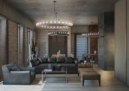 lighting for lofts. Designs By Style: Moody Loft Black Leather Couch Round Lights - Lofts Lighting For L