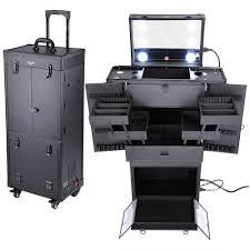 aw 34 x14 x11 pro rolling multifunction studio makeup case w led lights mirror telescopic legs 4 wheels drawers walmart